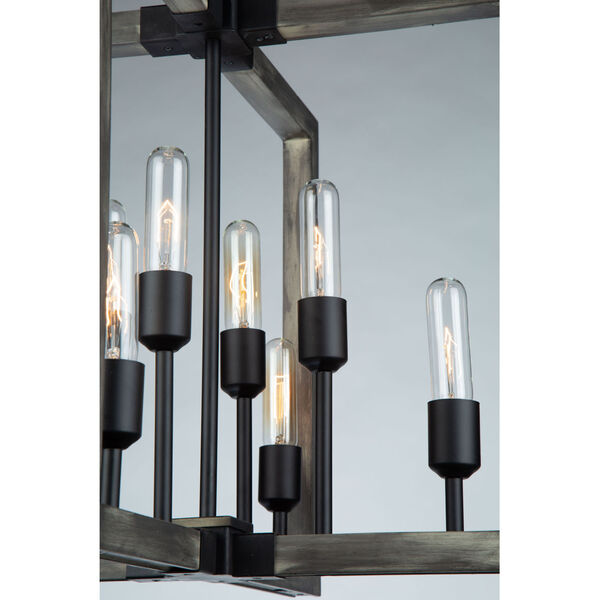 Gatehouse Beach Wood and Black Eight-Light Chandelier, image 2