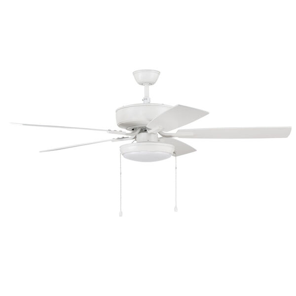 Pro Plus White 52-Inch LED Ceiling Fan with Frost Acrylic Pan Shade, image 1