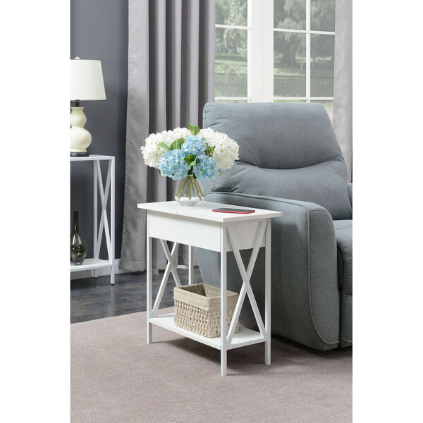 Tucson Flip Top End Table with Charging Station and Shelf, image 1