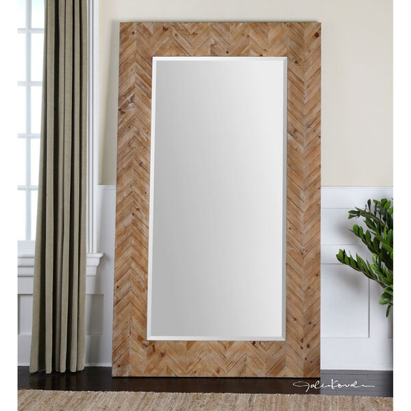 Demetria Solid Wood and Light Gray Oversized Mirror, image 1