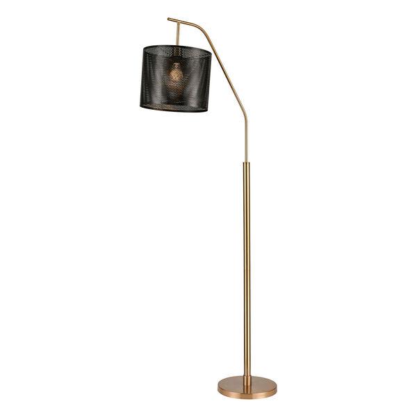 Decker Gold Aged Brass Black One-Light Floor Lamp, image 1