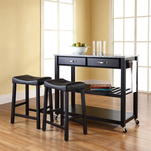 Solid Granite Top Kitchen Cart/Island in Black Finish With 24-Inch Black Upholstered Saddle Stools, image 5