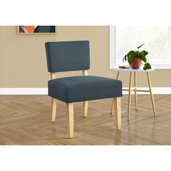 Blue and Natural Armless Chair, image 2
