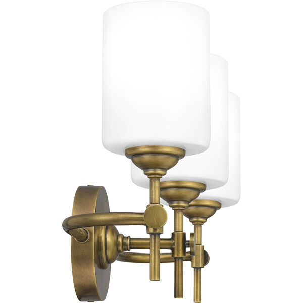 Aria Weathered Brass Three-Light Bath Vanity with Opal Glass, image 3
