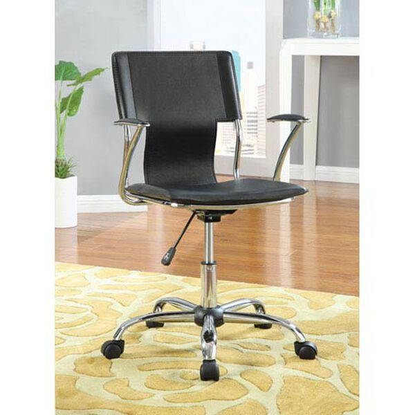 Black Contemporary Adjustable Height Task Chair, image 1