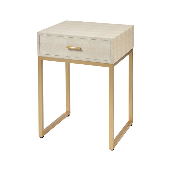 Les Revoires Cream with Gold 16-Inch Accent Table, image 1