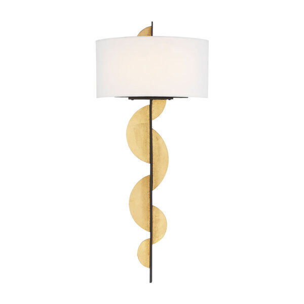 Navia Sand Coal and Ardent Gold Leaf Two-Light LED Wall Sconce, image 1