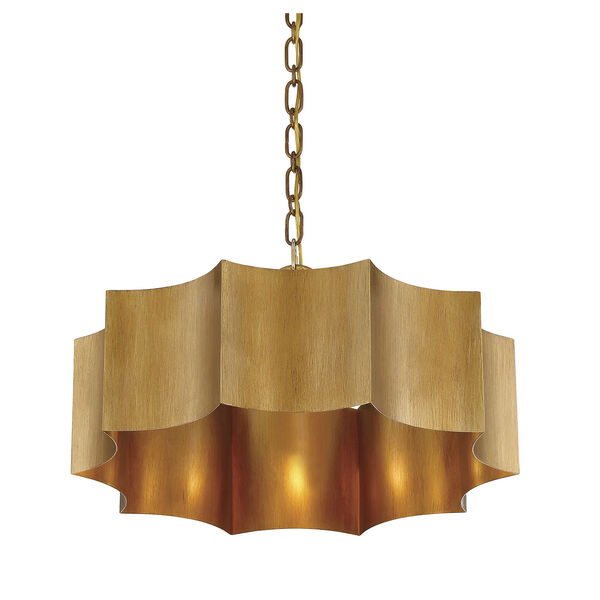 Shelby Gold Patina Three-Light Pendant, image 4