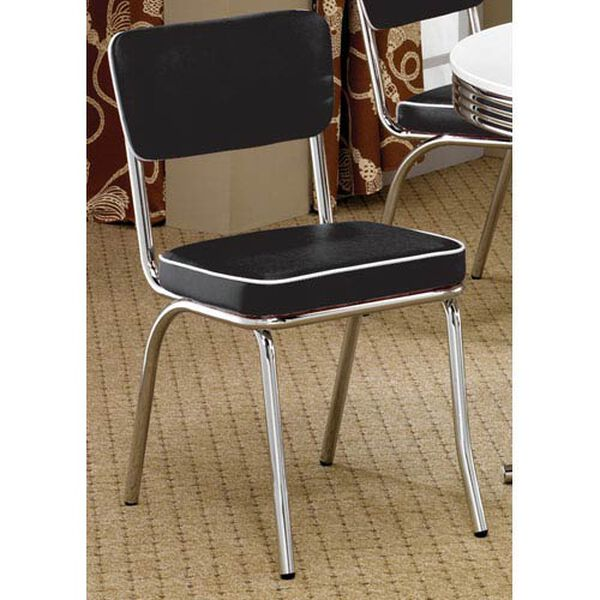 Cleveland Chrome Plated Side Chair with Black Cushion, image 1