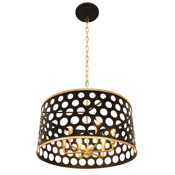 Bailey Matte Black French Gold 24-Inch Six-Light Pendant, image 2
