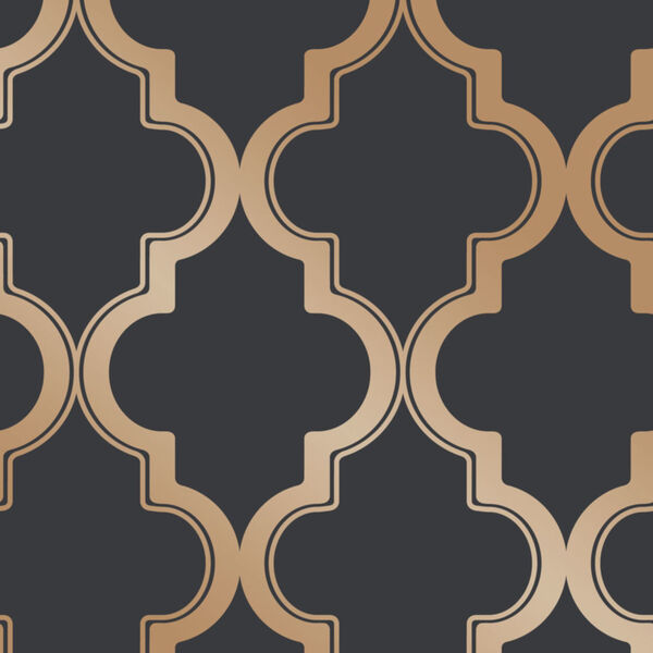 Marrakesh Midnight and Metallic Gold Peel and Stick Wallpaper, image 2