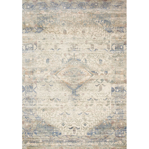 Revere Ivory with Blue Rectangle: 2 Ft. x 3 Ft. 2 In. Rug, image 1