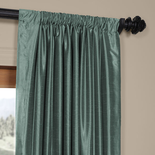Teal 120 x 50 In. Faux Dupioni Silk Single Panel Curtain, image 3