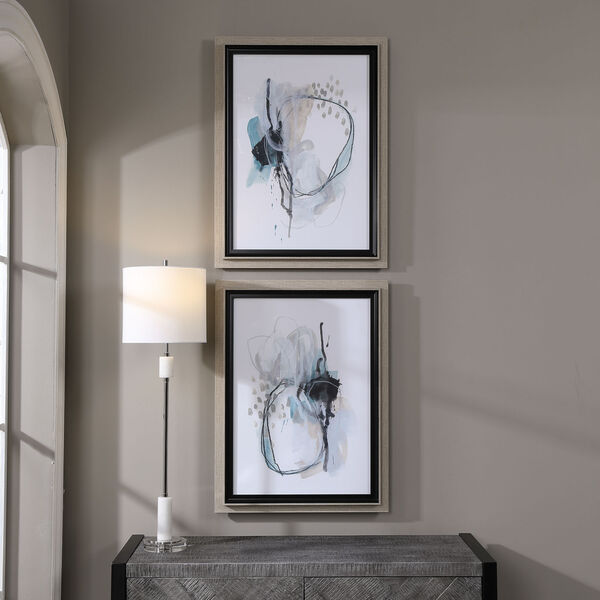 Force Reaction Gray and Blue Abstract Prints, Set of 2, image 1
