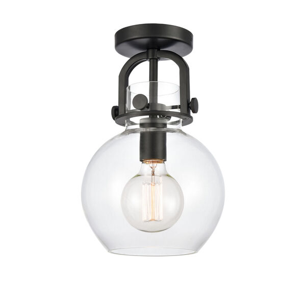 Newton Matte Black One-Light Semi Flush Mount with Clear Sphere Glass, image 1