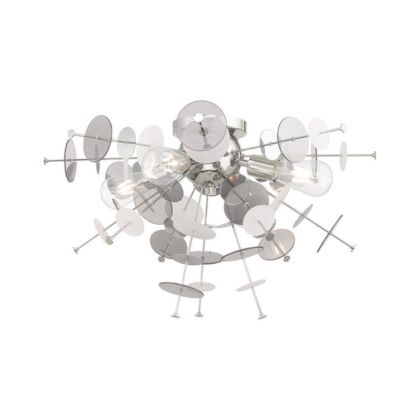 Circulo Polished Chrome 24-Inch Four-Light Ceiling Mount with Chrome Discs and Glass Discs, image 4