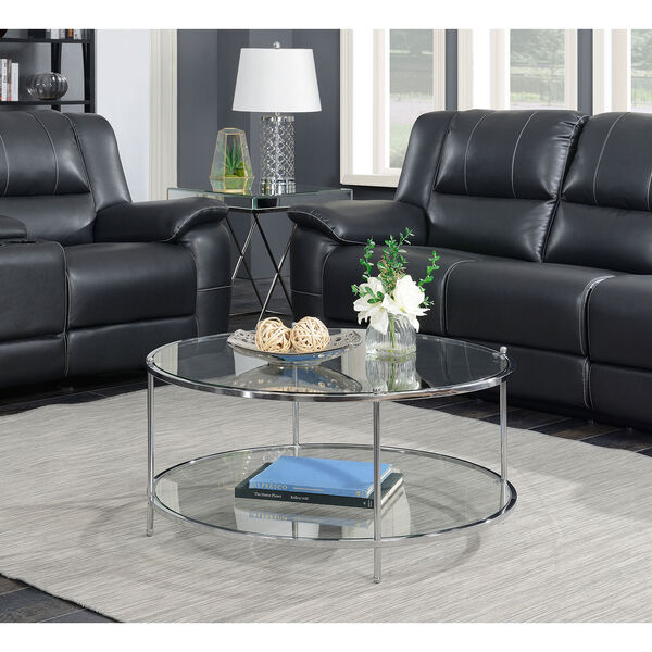 Royal Crest 2 Tier Round Glass Coffee Table in Clear Glass and Chrome Frame, image 1