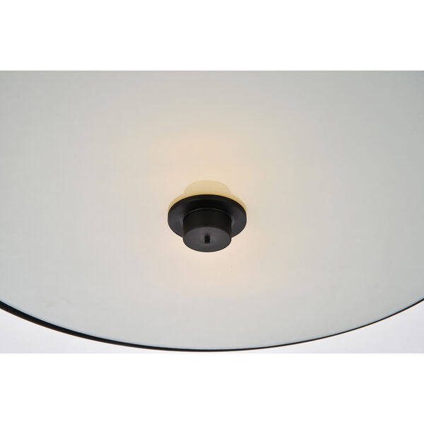 Hazen Flat Black and Frosted White Two-Light Flush Mount, image 4