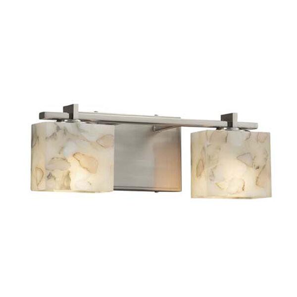 Alabaster Rocks! - Era Brushed Nickel Two-Light LED Bath Bar with Rectangle Alabaster Rocks Shade, image 1