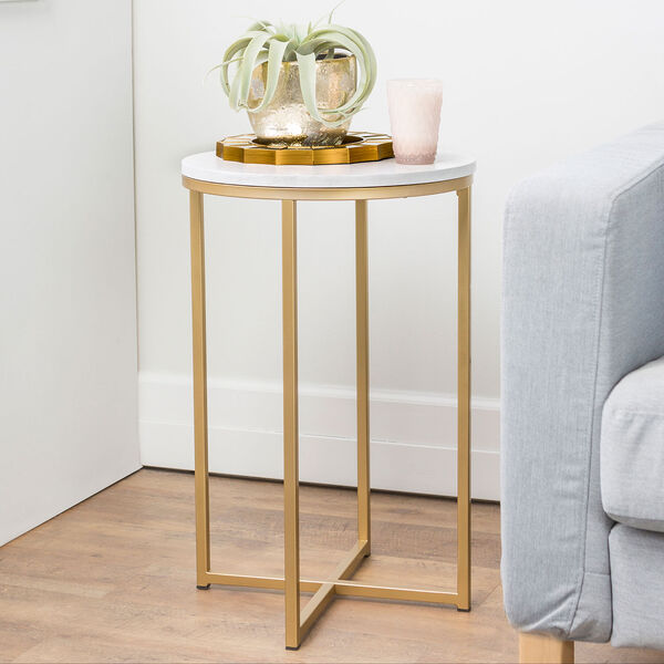 16-Inch Round Side Table - Marble/Gold, image 2