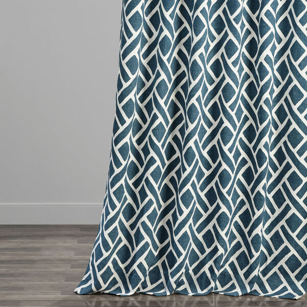 Navy Blue 120 x 50 In. Printed Cotton Twill Curtain Single Panel, image 5