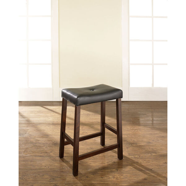 Upholstered Saddle Seat Bar Stool in Vintage Mahogany Finish with 24 Inch Seat Height- Set of Two, image 5