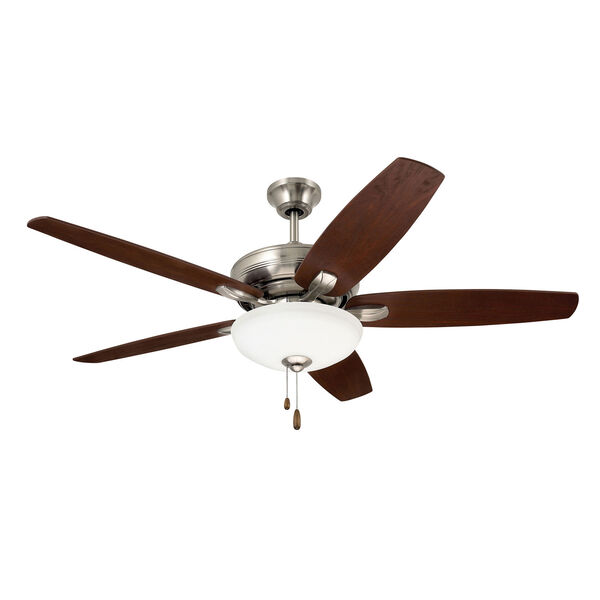 Pro Series Brushed Steel Three Light Ceiling Fan, image 1