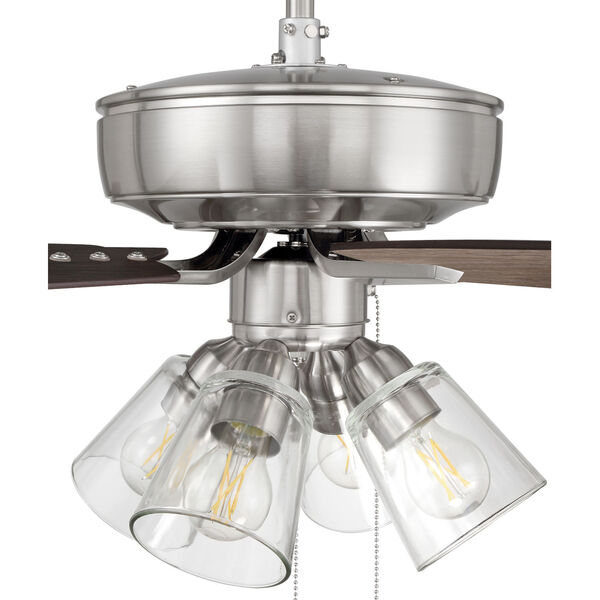 Pro Plus Brushed Polished Nickel 52-Inch Four-Light Ceiling Fan with Clear Glass Bell Shade, image 7