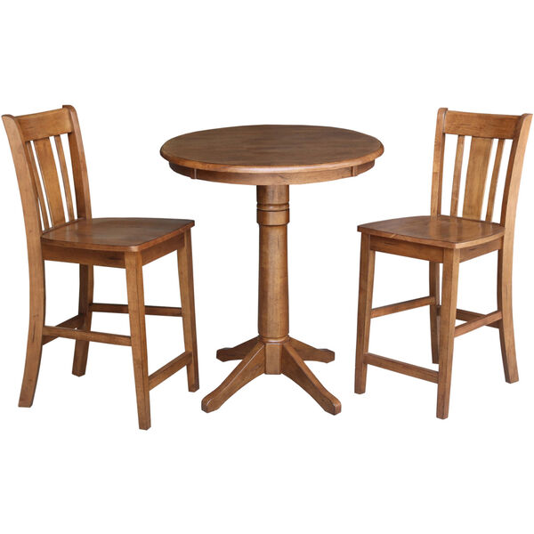 San Remo Distressed Oak 30-Inch Round Pedestal Gathering Table with Two Counter Height Stool, Set of Three, image 2