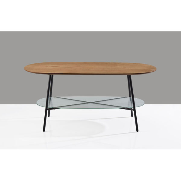 Diane Natural Wood and Black Two-Tiered Coffee Table, image 4