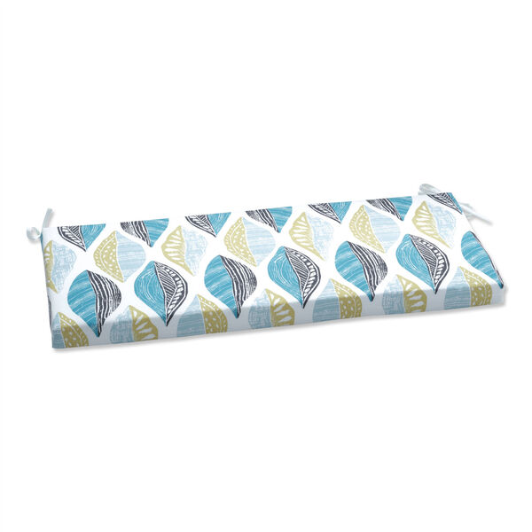 Leaf Block Teal and Citron Bench Cushion, image 1