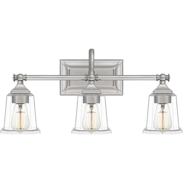 Nicholas Brushed Nickel Three-Light Bath Vanity with Transparent Glass, image 1