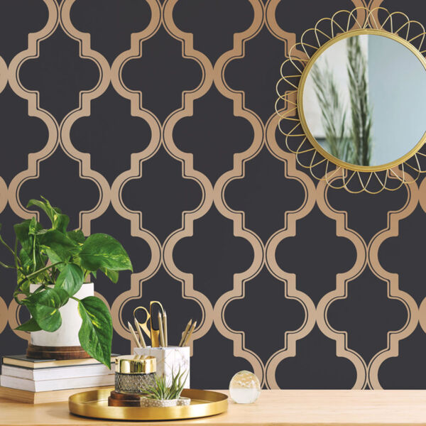 Marrakesh Midnight and Metallic Gold Peel and Stick Wallpaper, image 3