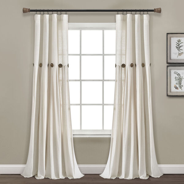 Linen Button Off White 40 x 95 In. Single Window Curtain Panel, image 1