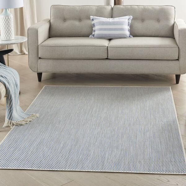 Courtyard Ivory and Blue 4 Ft. x 6 Ft. Rectangle Indoor/Outdoor Area Rug, image 1