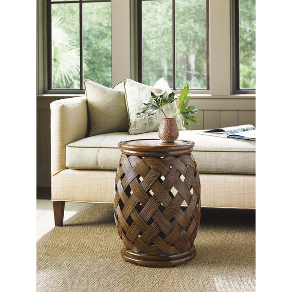 Bali Hai Brown Hibiscus Round Accent Table, image 3