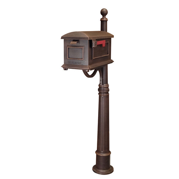 Traditional Copper Curbside Mailbox with Ashland Mailbox Post Unit, image 1