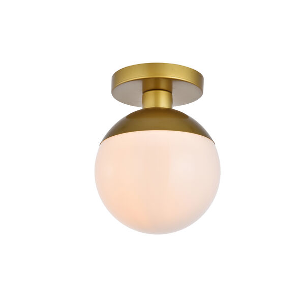 Eclipse Brass and Frosted White Eight-Inch One-Light Semi-Flush Mount, image 3