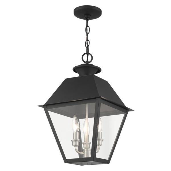 Mansfield Black Three-Light Outdoor Pendant Lantern, image 4