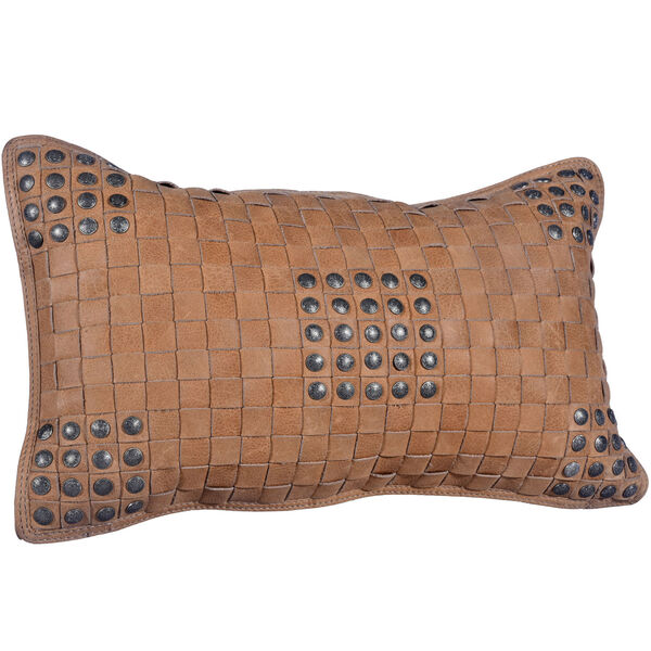 Tan 20 In. X 12 In. Basket Weave Leather Throw Pillow, image 5