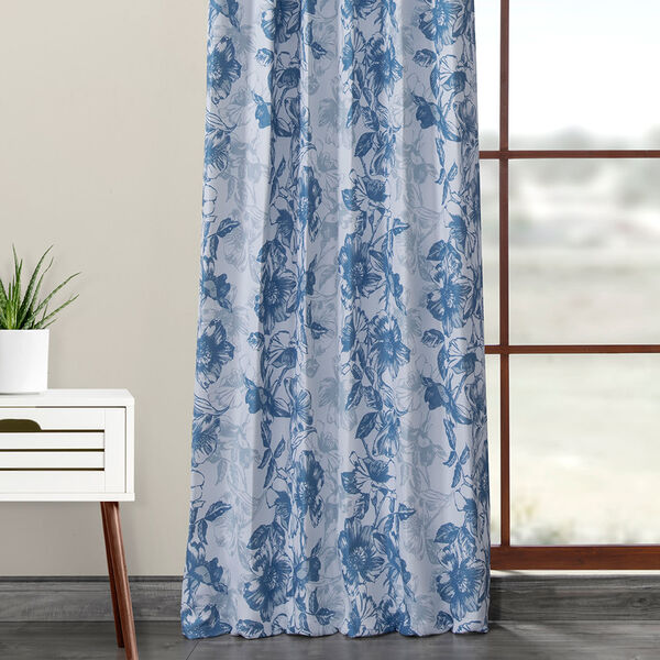 Blue Printed 84 x 50-Inch Polyester Blackout Curtain Single Panel, image 5