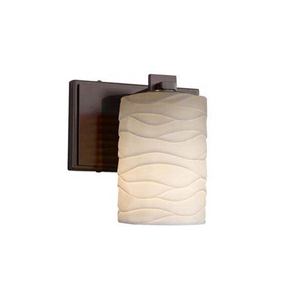 Limoges - Era Polished Chrome LED LED Wall Sconce with Cylinder Flat Rim Waves Shade, image 1