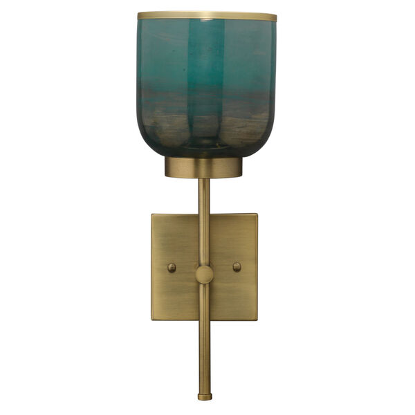 Vapor Antique Brass and Aqua Metallic Glass One-Light Wall Sconce, image 1