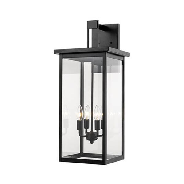 Powder Coat Black 27-Inch Four-Light Outdoor Wall Sconce, image 1