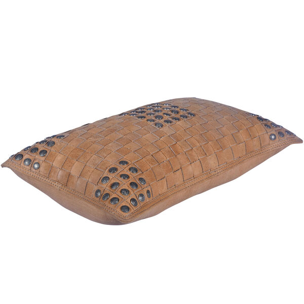 Tan 20 In. X 12 In. Basket Weave Leather Throw Pillow, image 3