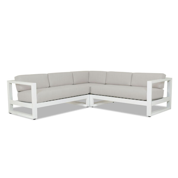 Newport Frost Powdercoat Sectional Sofa with Cast Silver Cushion, image 1