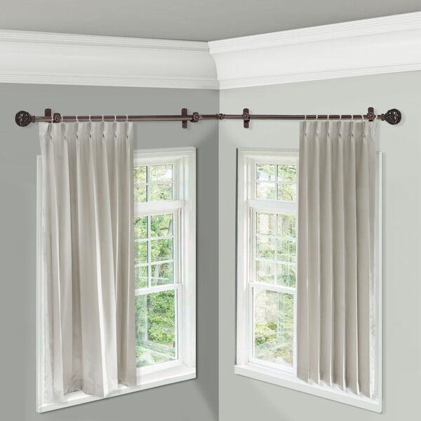 Leanette Cocoa 120-Inch Corner Window Single Curtain Rod, image 2