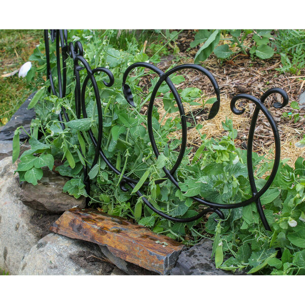 Black Powdercoat Scroll Border Fence Section, Set of Four, image 1