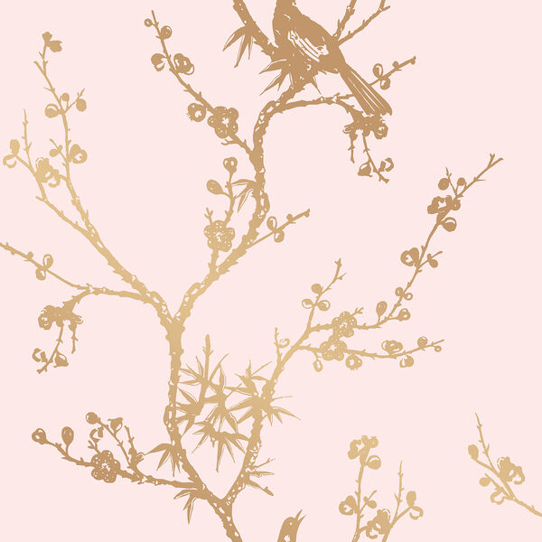 Bird Watching  Rose Pink and Gold Removable Wallpaper, image 2