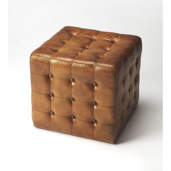 Leon Brown Leather Ottoman, image 1